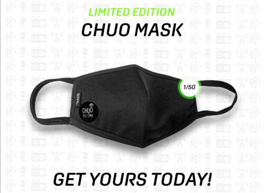 Promotional image which links to a page where users can purchase a mask with a CHUO logo.